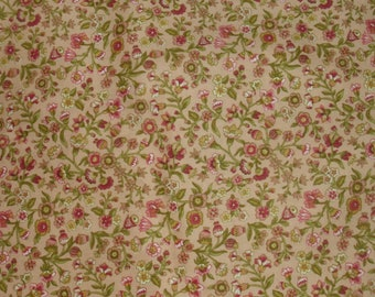 Peach Floral Fabric / Peach with Coral Pink and Green / Copyright Protected Fabric / Sewing Fabric / Quilting Fabric