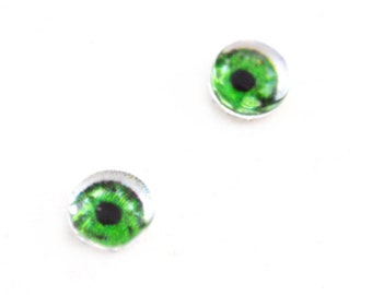 6mm Intense Green Doll Glass Eyes Cabochons - Tiny Glass Eyes for Jewelry or Doll Making - Set of 2