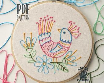 Bird in My Garden - PDF embroidery pattern, beginner embroidery hoop art, bird & flower embroidery