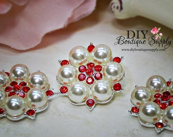 RED Rhinestone & Pearl buttons Valentine's Day Crystal Embellishments Headband Supplies flower centers Metal Flat back  5 pcs 26mm 461063