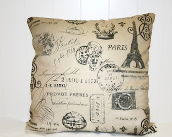 Decorative French Script Pillow Cover