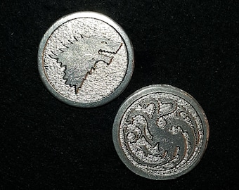 Stark and Targaryn Heads or Tails Pewter Flipping Coin