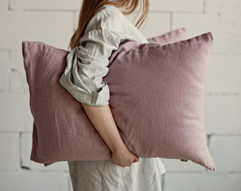 Wood rose linen pillow case. Stone washed flax cover.