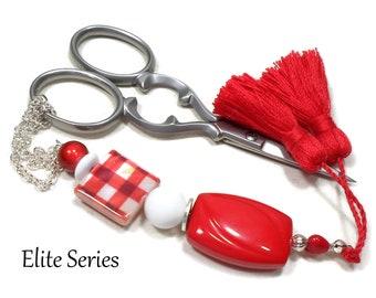 Red Gingham Scissor Fob, Scissor Minder, Scissor Keeper, Beaded Key Fob, Red Tassel, Needlepoint, Quilting, Sewing Accessory Cross Stitch