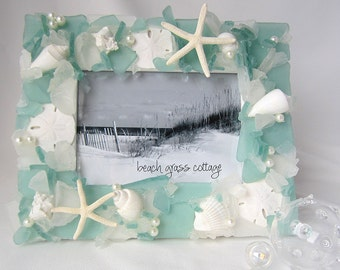 "Beach Glass Frame, Beach Decor Sea Glass Frame, Coastal Seaglass Frame, Nautical Seashell Frame, 8x10"" LIGHT GREEN"