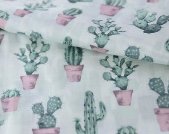 Japanese Double Gauze - Green Cactus