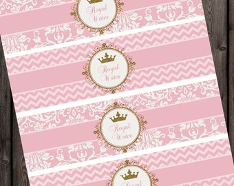 Royal princess water bottle labels, printable, instant download at purchase