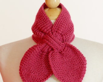 Knitted Neck Warmer Bow Scarflette Raspberry Pink