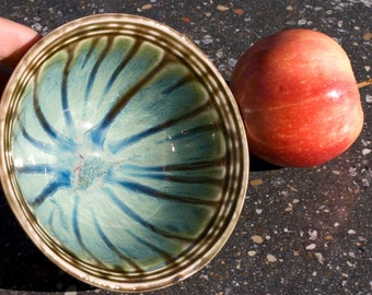 Bowl, Ocean Green Drip, stoneware, cereal bowl, Etched Stripes, Green with brown, Hand Painted, Ready To Ship