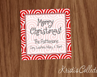 Christmas Gift Tags Stickers, Personalized Calling Cards Gift Inserts Enclosure Cards, Lollipop Swirls