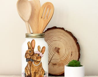 Hand painted Kilner Jar with Bunny Couple
