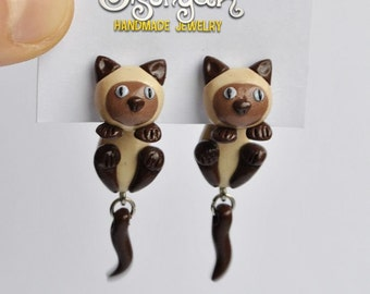 Siamese Cat Clinging Earrings - 2 part post/ stud earrings - Gifts for her