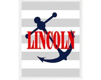 Nautical Nursery Art, Personalized Art, Anchor Print, Navy Blue, Red, Gray Stripes, Anchor Decor, Nautical Decor, Baby Boy Nursery, Kid Art