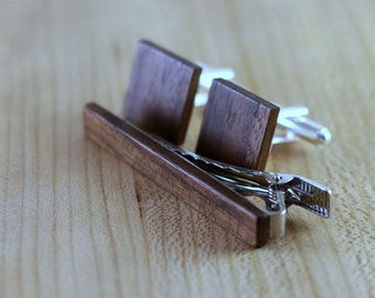 Wood Cuff links and Wood Tie Clip set - Walnut - Groomsmen gift - 5th wedding anniversary present - Square Cuff Link - Gift for Him