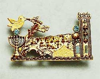 Gold Jerusalem Brooch. Gold Jerusalem Vintage Brooch. Jerusalem Handmade. Jerusalem Jewelry. Judaica Jewelry. Made In Israel. FREE SHIPPING!