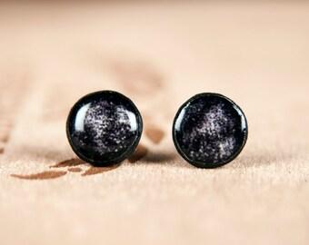 Casual Stud Earings, Black Earrings, Abstract Earrings for Men, Simple Earrings, Black And White Earrings