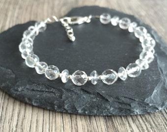 Quartz bracelet, rock crystal quartz april birthstone faceted handmade gemstone bracelet