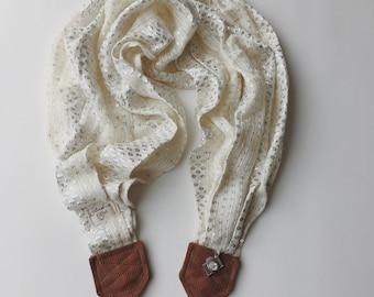 Studio amour courroie de l'appareil: argent blanc crème éclat écharpe photographe pro dslr cuir hiver cadeau de Noël