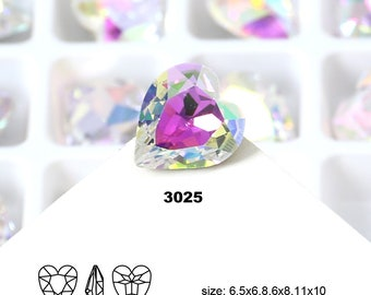 All Size Shiny Color Crystal AB Heart Shape Crystal Fancy Stone Jewelry Beads