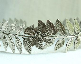 ATHENA Grecian Leaf Headpiece in Silver