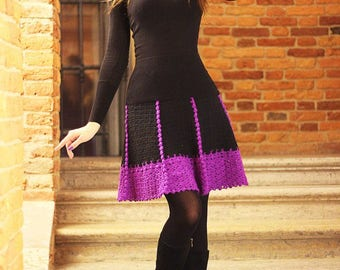 crochet skirt Royal dress handmade crochet black Skirt  Hollywood star dress for photo shoot crochet lacy women's skirt