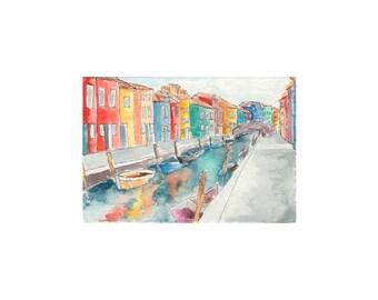 Burano Watercolor Print
