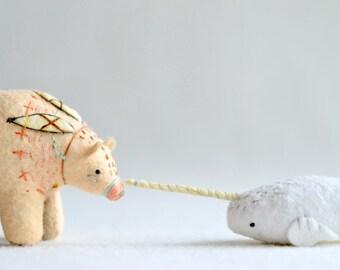 white narwhal - narhwal plush - soft sculpture animal