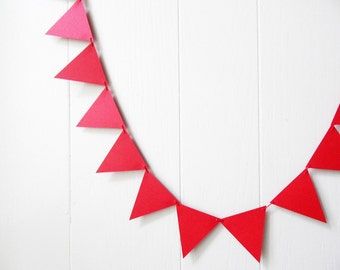 Red Decor / Red Triangle Bunting / Garland / 5 ft / Holiday Bunting / Valentines Decor