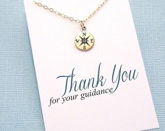 Teacher Gifts   Compass Necklace, Graduation Teacher Gift, Mentor Gift, Graduation Gift, Teacher Appreciation Gift, Class of 2018   T01