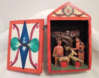 "Peruvian Retablo Adam & Eve, Goats, Serpent and Apple Tree 5""H"