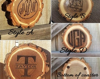 Coasters, Personalized gift, monogrammed gift, rustic wood coaster, custom wood coasters, tree slice coasters, gift for Dad, Gift for Mom