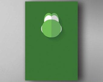 Yoshi Inspired. Minimalistic. Mario. Video Game Poster. Wall Art.