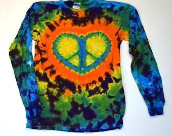 Peace and Love Forever ~ Tie Dye Longsleeve Shirt (Gildan Heavy Cotton Longsleeve Size S) (One of a Kind)