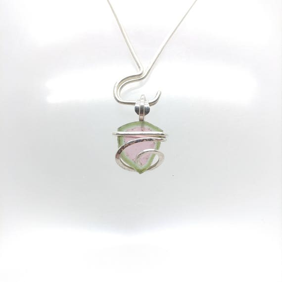 Watermelon Tourmaline Necklace | Tourmaline Slice Pendant | Sterling Silver Pendant | Gift for Bestfriend | Bicolor Tourmaline
