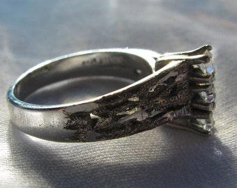 MAJA Signed Triple Stacked Clear Rhinestone with Jagged Finish Sterling Silver Ring, Size 6