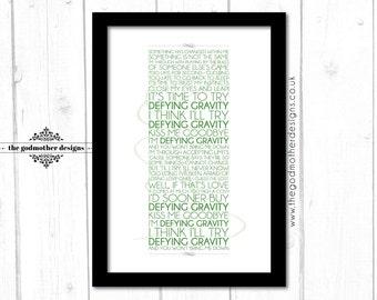 Defying Gravity - Wicked - Broadway Musical - Lyrics - Typography - PRINT