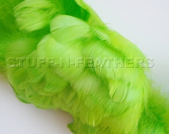 Goose coquille feathers Lime Green, small curled real feather green for millinery, wedding, jewelry, crafts, 2-4 in (5-10 cm) long / F100