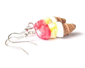Miniature Food Ice Cream Earrings ( triple scoop food kawaii earrings polymer clay funny dessert gift for girl handmade cute red yellow )