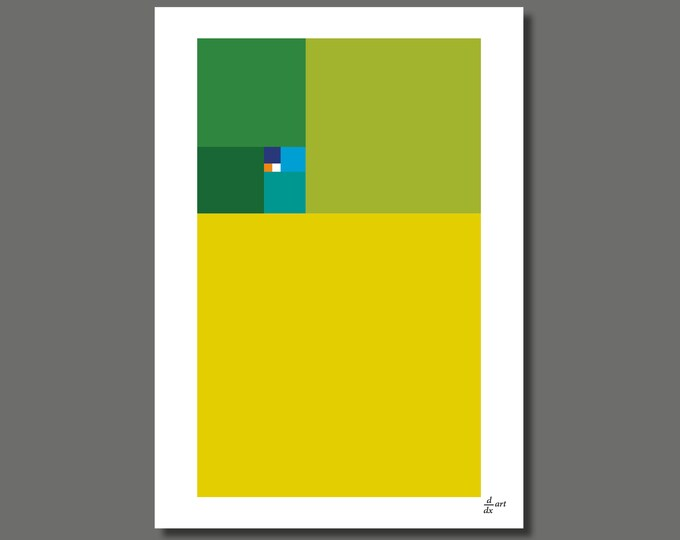 Fibonacci Spring [mathematical abstract art print, unframed] A4/A3 sizes