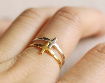sideways cross ring . side cross ring . stackable cross ring . simple cross ring . minimalist jewelry . side cross stacking ring