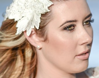 Ivory lace bridal headpiece