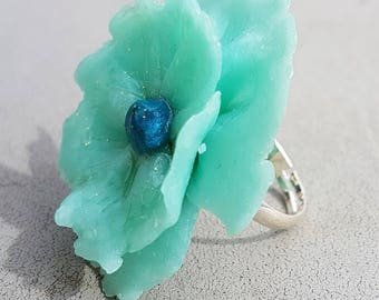 Sequined pale blue flower Adjustable ring