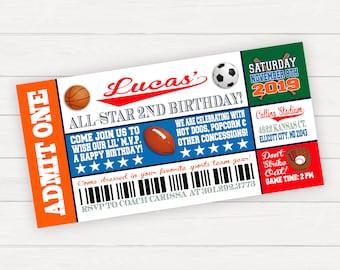 Sports Birthday Invitation, Sports Birthday Party, Sports Invitation, Sports Ticket Invitation, All Sports Birthday, Sports Birthday Ticket