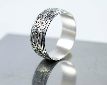 Art Deco Ring, Sterling Silver Ring, 8mm Wide Band, Antiqued Finish, Made to Order, Floral Design Ring, Wedding Band, Silver Wedding Ring