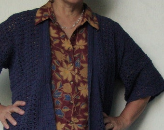Kimono Crochet, Crochet Cardigan, Kimono Cardigan, Crocheted Cardigans, Steel Blue Cardigan, Cardigan Sweaters, Available in M/L and XL