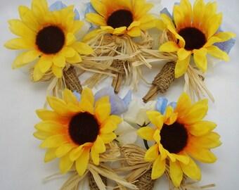 Burlap Sunflower Boutonniere, Woodland Wedding, Silk, Rustic, Groom, Groomsmen Buttonhole Flower, 1 Lapel Pin Made to order