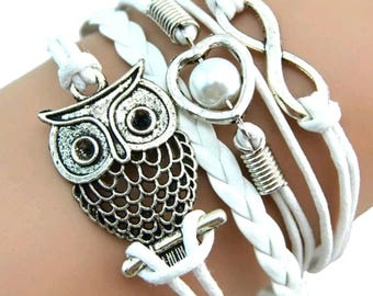 Infinity Love Symbol, Owl and Heart on a White Braided Bracelet