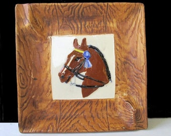 HORSE Design Ashtray * BLUE RIBBON  Horse * Vintage * Handcrafted Pottery