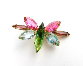 Vintage Juliana Rhinestone Butterfly Brooch Pin - Bug Insect - Faceted Open Back Prong Set - Purple Green Blue Pink