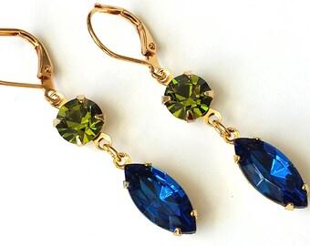 Capri and Olivine Crystal Earrings Swarovski Blue and Green Crystal Earrings Victorian Inspired Earrings Victorian Earrings Mardi Gras